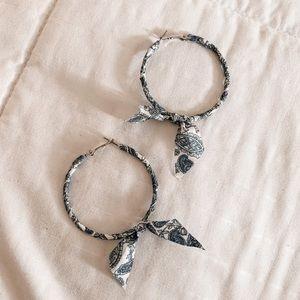 Boho Bandana Patterned Hoop Earrings